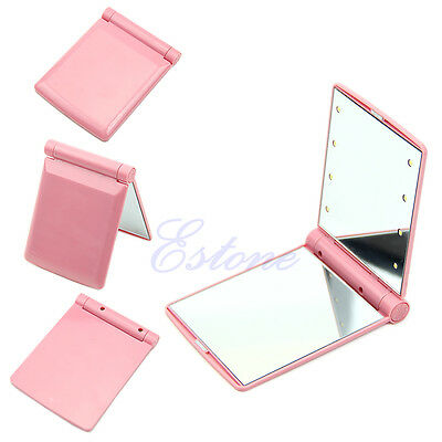 Cosmetic LED Make Up Mirror Folding Portable Compact Pocket with 8 LED Lights