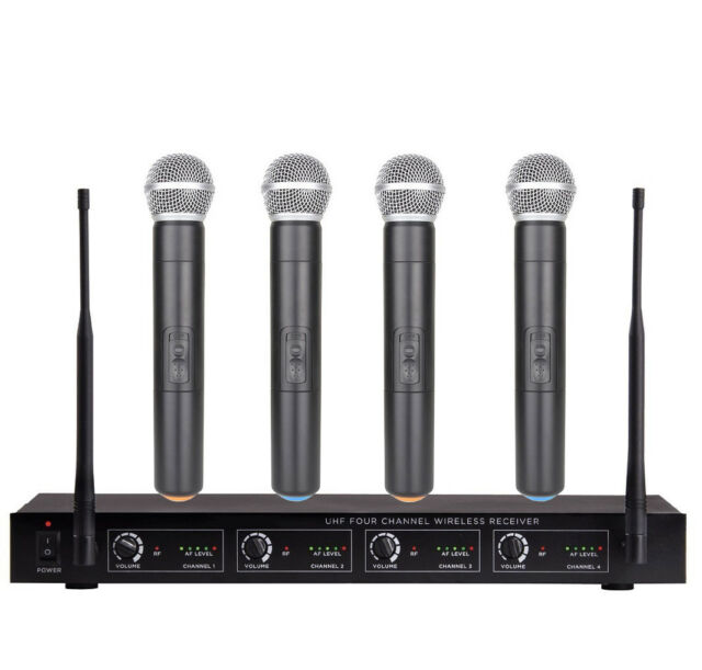 4 channel uhf wireless cordless microphone system four handheld for sale online ebay. Black Bedroom Furniture Sets. Home Design Ideas