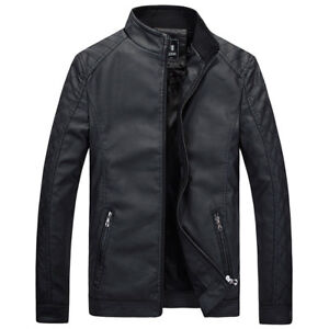 Men-039-s-Leather-Jacket-Leisure-Biker-Overcoat-Motorcycle-Coat-Slim-Fit-Outwear-Top
