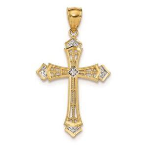 14K Yellow Gold Passion Cross Charm Pendant
