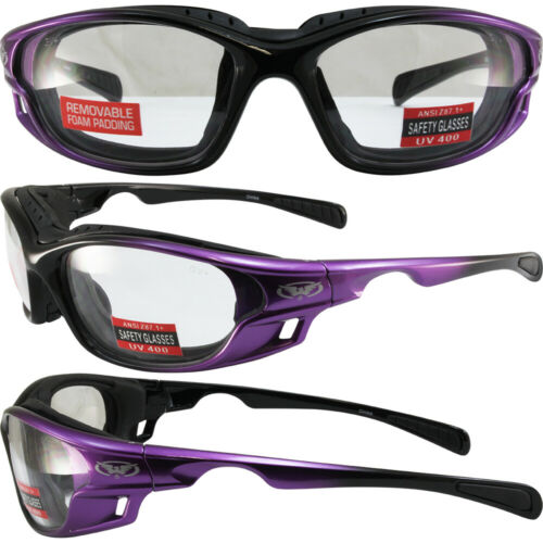 Womens Padded Motorcycle Riding Glasses Purple Frames Clear Lens by Global Visio