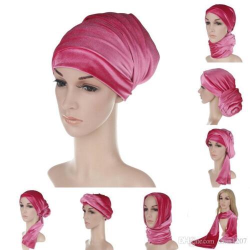 New Fashion Women Velvet Turban Headband Wrap Extra Long Velvet Tube Head
