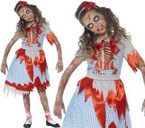 Bambini-Ragazze-zombie-ragazza-di-campagna-Dorothy-Costume-Da-Smiffys