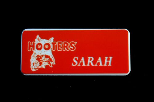 Sarah Hooters Girl Uniform Name Tag Pin Halloween Costume Accessory
