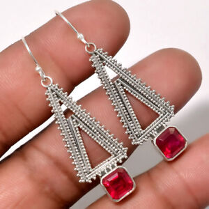 Artisan-Ruby-India-925-Sterling-Silver-Earrings-Jewelry-AE17603