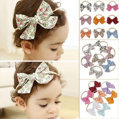 Soft Elastic Floral Print Big Bow Baby Nylon Hairband Headband Turban Headwrap