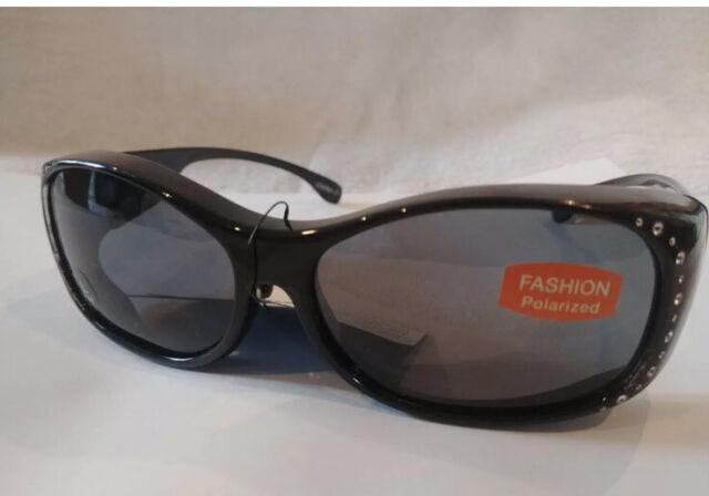 2 Pair Solar Shield Fits Over Sunglasses Polarized Black Silver Medium 100/%UV