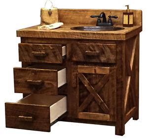 Custom Rustic Ranch Circle Sawn Barn Wood Cabin Lodge Bathroom Vanity 30 72 Inch Ebay