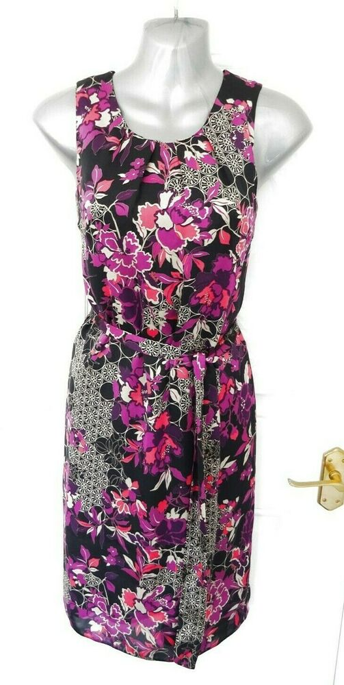 Wallis Taille 10 Petite Noir Violet Rose Silky Feel Robe Cravate Ceinture Nouveau Rrp £ 45
