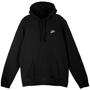 c731a77a7 Nike Club Fleece Full Zip Hoodie Mens 804389-010 Black White Logo ...