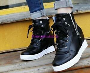 0bc6275ce3b7 Womens Lace Up Zip Oxfords Hidden Wedge Sneakers Hi Top Tennis Shoes ...