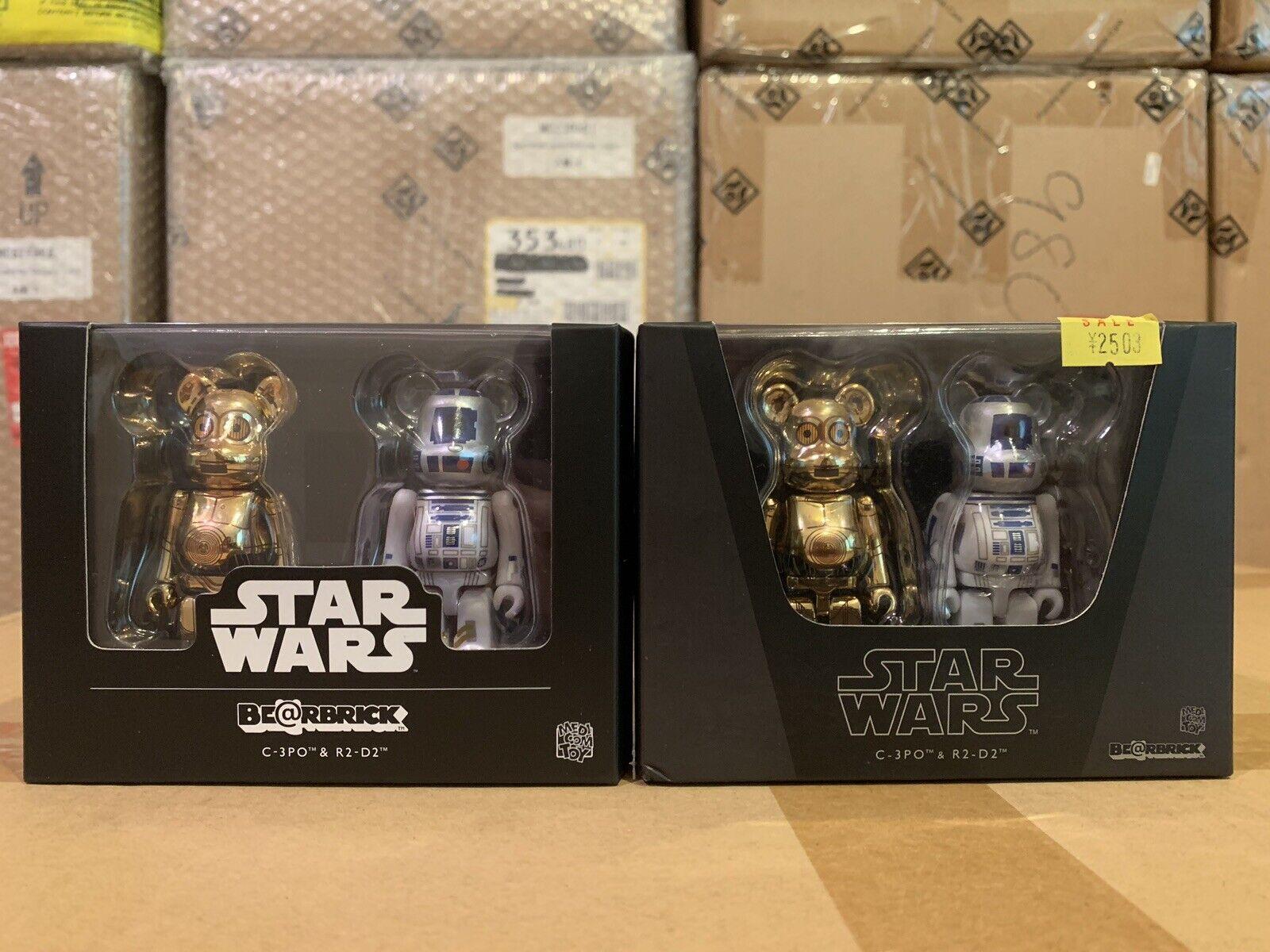 Rare Medicom Stern Wars C-3PO R2-D2 100% Bearbrick Be@rbrick Box 2 of 2 set pcs