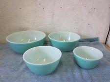 4 Vintage Pyrex Turquoise Light Blue 401 , 402, 403, 404 Nesting Mixing Bowls