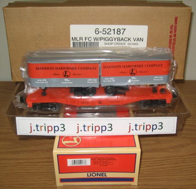 LIONEL 6-52187 MADISON HARDWARE PIGGYBACK FLATCAR TRAILER TRAIN NEW YORK O GAUGE