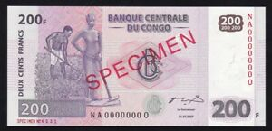CONGO ------ 200  FRANCS  2007 ----- SPECIMEN ----- UNC -----