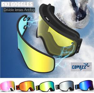 Pro Snow Ski Snowboard Goggles Double Lens Low Ligh   Night Anti fog UV Glasses