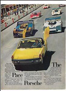 1973 Porsche 914 Print Ad ~ Yellow The Pace Porsche ~ Mosport Can-Am Challenge