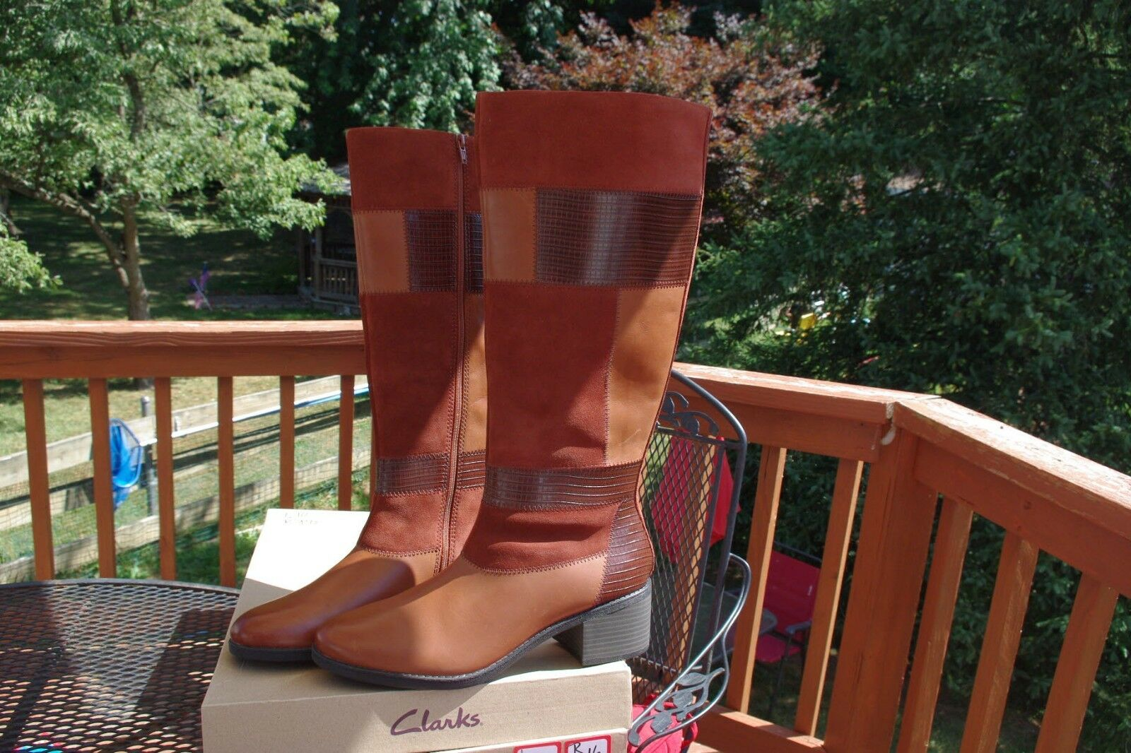 NIB Clarks  Nevella Nova Brown Suede & Leather Patchwork Knee Boots 10  9.5 LOOK