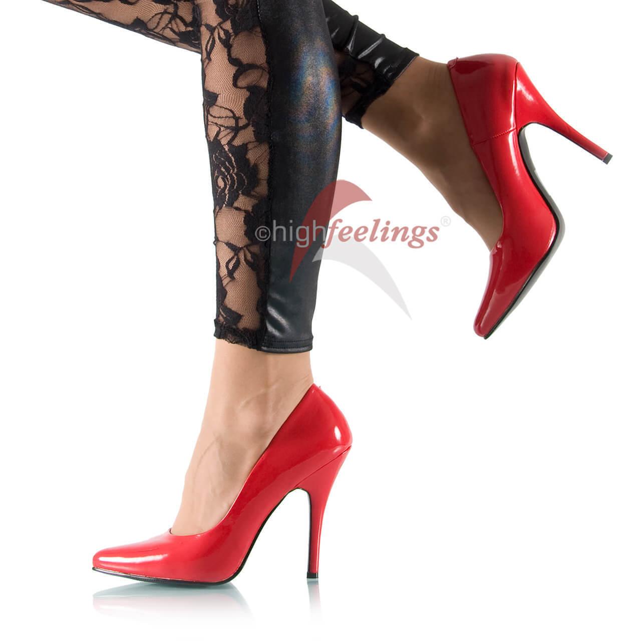 High Heels Pumps Rot Lack 11 - 13 cm Absatz Gr. 36 - 47