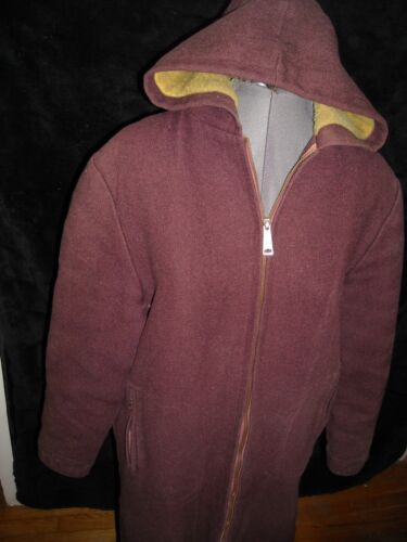 VTG 30S 40S SMALL WOOL RED ZIP HOODED LINED HOLLYW