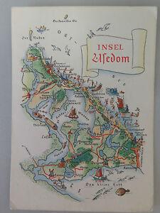 Insel Usedom - Karte - Landkarte - Postkarte - Ansichtskarte - gelaufen - <span itemprop='availableAtOrFrom'>Sehmatal-Cranzahl, Deutschland</span> - Insel Usedom - Karte - Landkarte - Postkarte - Ansichtskarte - gelaufen - Sehmatal-Cranzahl, Deutschland