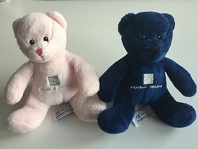 2 x Wembley Stadium FA Cup Bear Bears Cuddly Toy Toys 1 Pink & Blue RRP £8 each