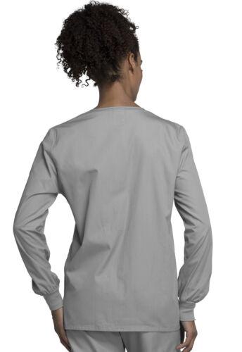 Grey Cherokee Scrubs Workwear Originals Snap Front Warm Up Jacket 4350 GRYW
