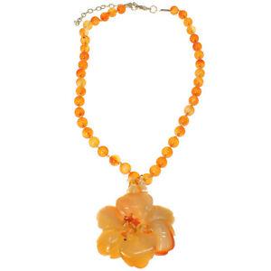 Semi-precious-orange-agate-stone-chunky-flower-pendant-bead-choker-necklace