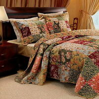 French Country Patchwork Quilt Bedspread Set Oversized 120 X 118 Super King