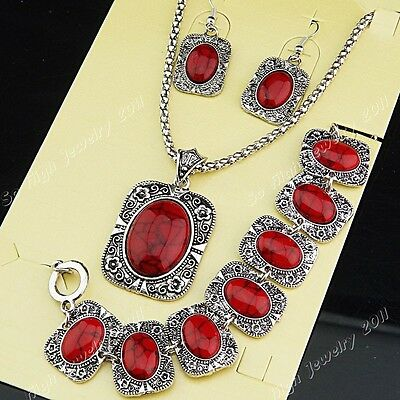 Freeshipping Red Turquoise Necklace Earrings Bracelet Women Vintage Jewelry Set