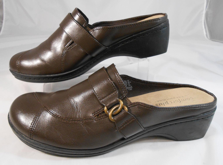 Predictions Comfort Plus Wedge Womens Size 10 Chocolate Brown Wedge Plus Heel Mules 34e346