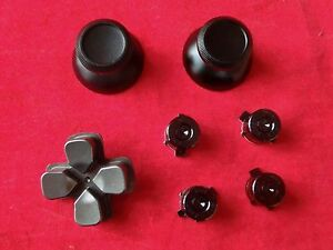 PS4-Controller-Modding-Set-Thumbsticks-Button-Steuerkreuz-Analog-Alu-SCHWARZ