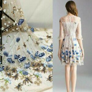 Stickereien Blumenmuster Tull Spitze Stoff Braut Hochzeit Kleid Basteln Von Yard Ebay