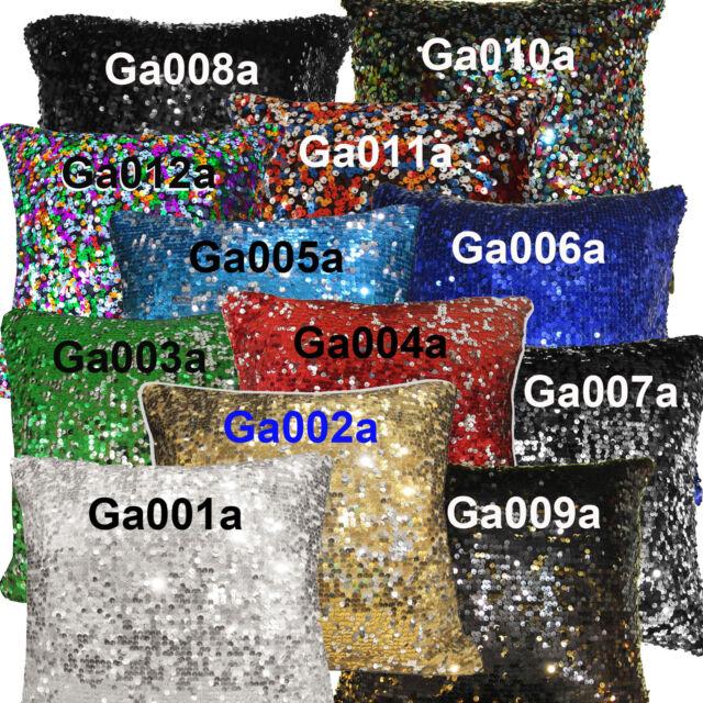 Ga - Gold Silver Red Blue Green Black Sequins Velvet Cushion Cover/Pillow Case