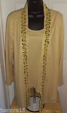 Additions by Chico's Woman's Glitter Gold Tank and Cover Shirt Size 1