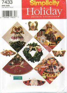 Simplicity-7433-No-Sew-Christmas-Angels-Felt-Holiday-Ornaments-Pattern-UNCUT-FF