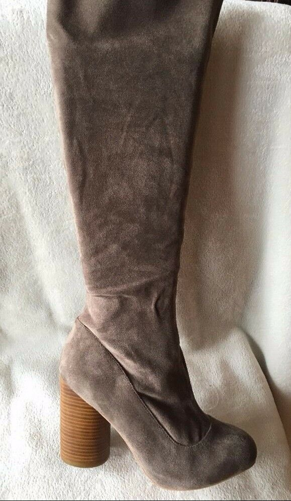 Jeffrey Campbell Sequel-HI stretch shaft tall Boots brown side zip sz 8.5 new