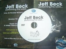 JEFF BECK PERFORMING THIS WEEK ...at RONNIE SCOTT'S JAZZ CLUB france PROMO DVD