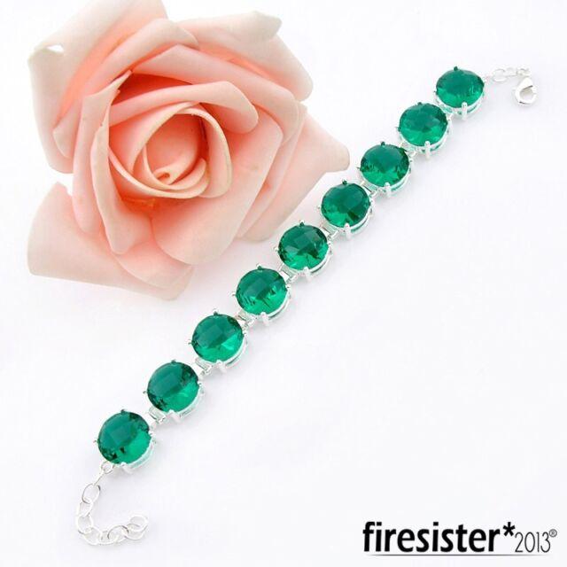 2016 Mom Gift Party  Jewelry Green topaz  Gemstone Silver Bracelets 8 1/4 inch
