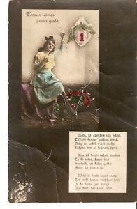 Carte-postale-photo-teintee-Lettonie-PSR-Bonne-annee-Nouvel-An-poeme-femme-Woman