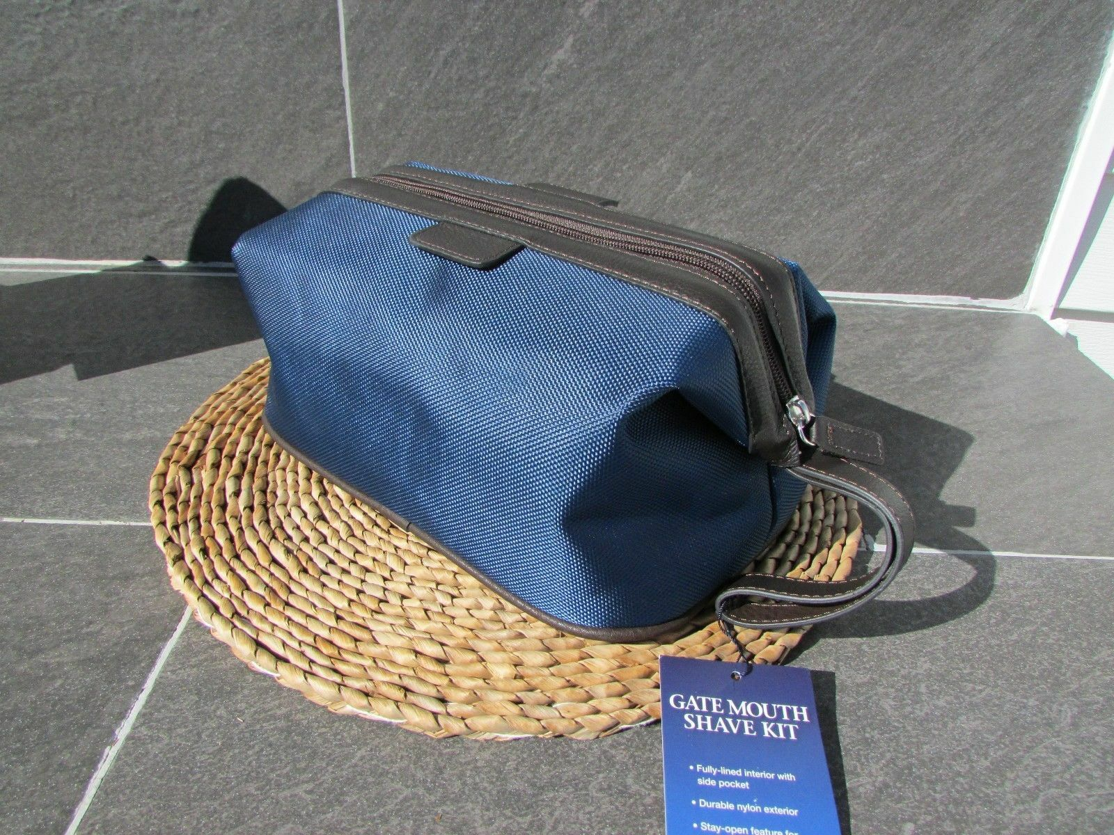 Top Zip Shave Kit Canvas& Leather Bag Navy and Brown Metal Frame ...