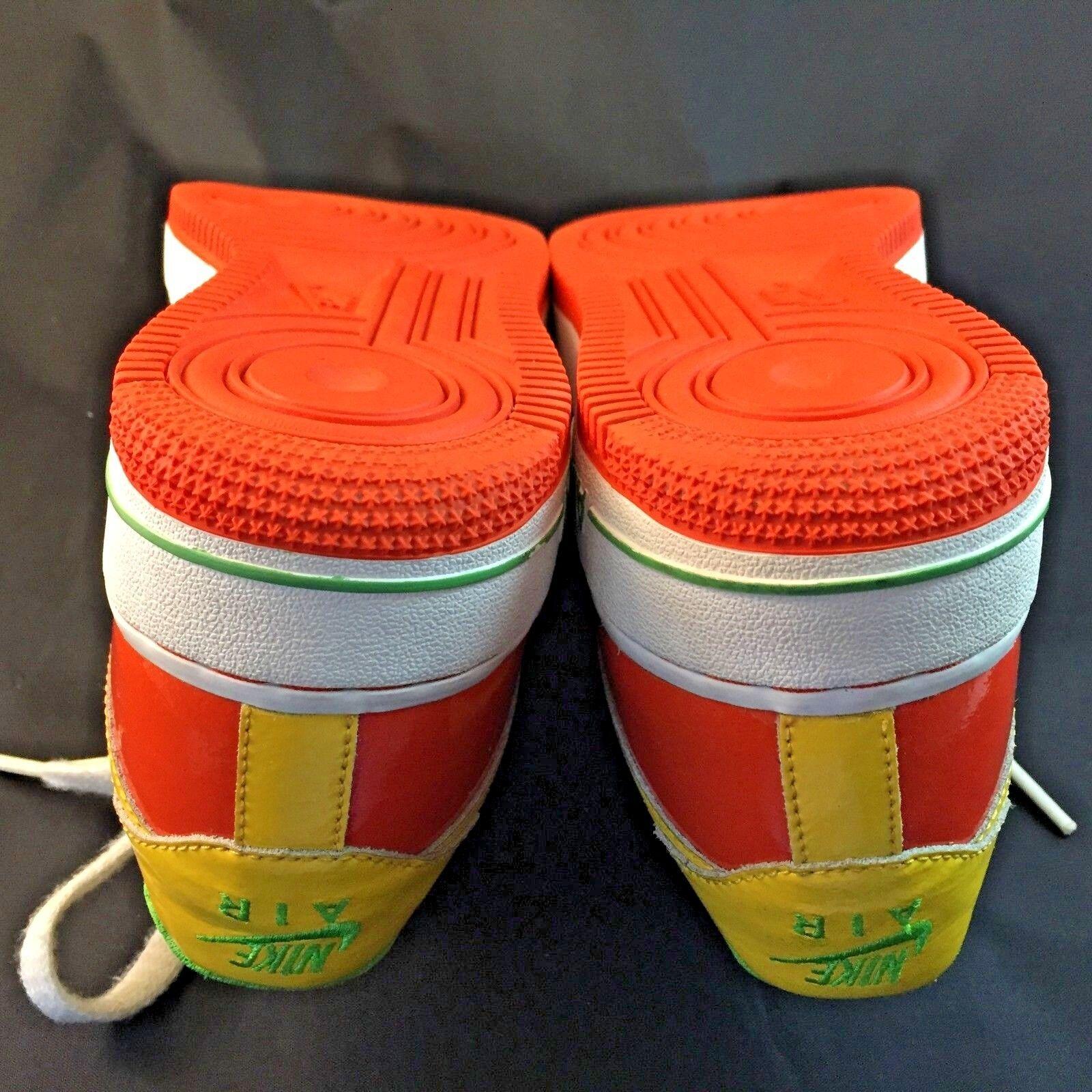 MINT Nike Air Force Green Orange Yellow Patent Leder P 7 Y, same 8.5 W