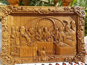 The last supper wood carving christian gift from natural material