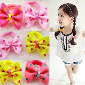Children-Kids-Printing-Hair-Tie-Rope-Sweet-Dot-Ponytail-Holder-Bow-knot