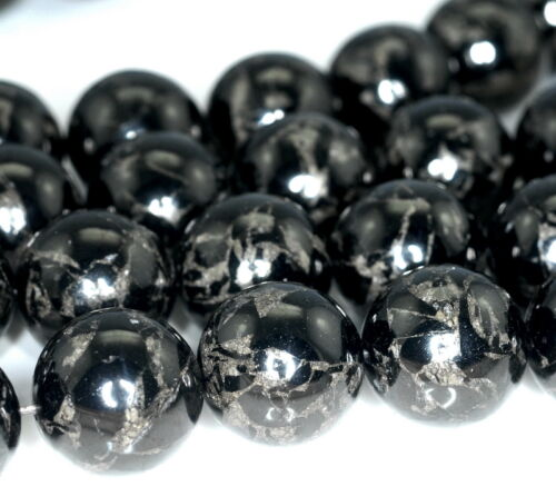 18MM BLACK JET WITH PYRITE INCLUSION GEMSTONE ROUND LOOSE BEADS 16/""