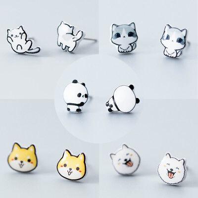 Süße Ohrstecker Tiere Echt Sterling Silber 925 Damen Kinder Ohrringe Katze Hund