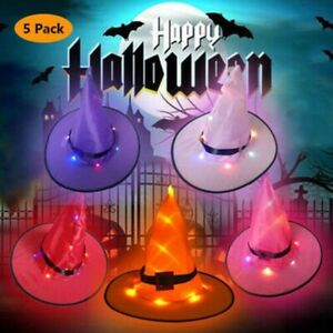5PCS-Halloween-Witch-Hats-with-Lights-LED-Light-Up-Outdoor-Hanging-Decor-Caps