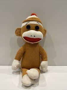 Ty Beanie Buddies Baby Socks the Sock Monkey Tan Corduroy pre owned 10 inch good