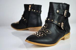 Biker Boots Western Stiefeletten Vintage Nieten Schnallen