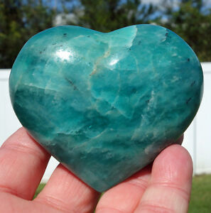 Beautiful-LARGE-AMAZONITE-Shimmering-Green-Blue-Crystal-Healing-Heart-Point